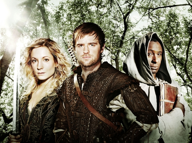 (l to r) Kate (Joanne Froggatt), Robin Hood (Jonas Armstrong) and Tuck (David Harewood).