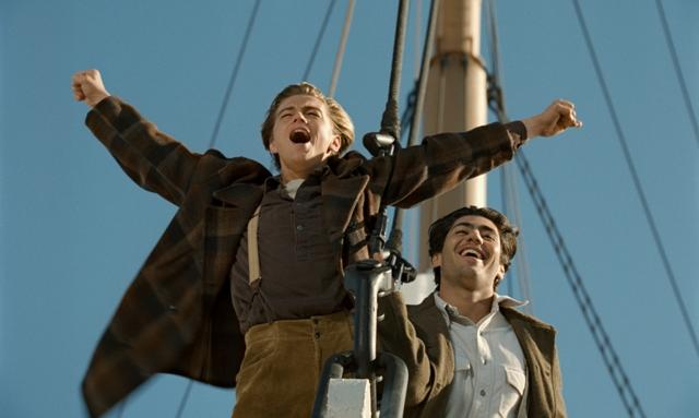 Leonardo DiCaprio and Danny Nucci star in James Cameron's Titanic.