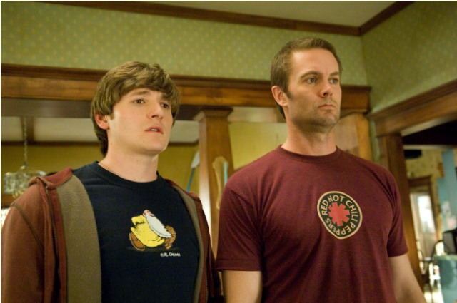 Jimmy Chance (Lucas Neff, L) is a well-meaning screw-up trying his best to raise his infant daughter with the help of his dad Burt (Garret Dillahunt, R) in RAISING HOPE premiering Tuesday, Sept. 21 (9:00-9:30 PM ET/PT) on FOX. ©2010 Fox Broadcasting Co. Cr: Ray Mickshaw/FOX