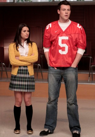 Rachel (Lea Michele, L) and Finn (Cory Monteith, R) take direction on a new song and dance routine in