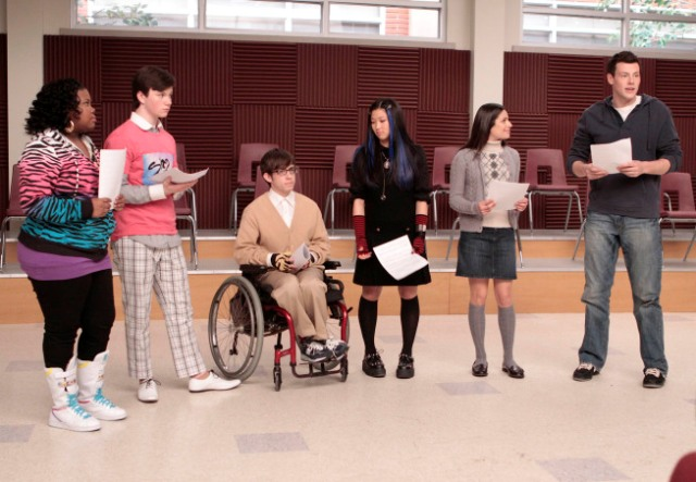 The members of McKinley High's Glee Club learn a new song and dance to perform in front of the school in