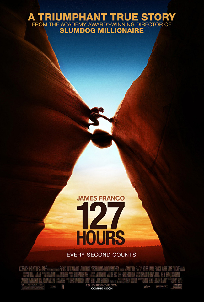 The movie poster for 127 Hours starring James Franco from director Danny Boyle