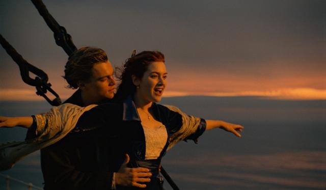 Leonardo DiCaprio and Kate Winslet star in James Cameron's Titanic.