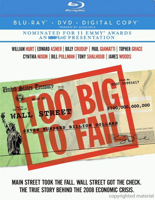 Too Big to Fail was released on Blu-ray and DVD on June 12, 2012.
