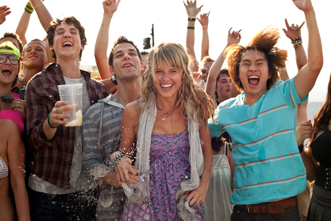 Myles Teller, Skylar Astin, Sarah Wright and Justin Chon in 21 and Over