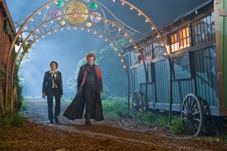 (L to R) Darren (CHRIS MASSOGLIA) is introduced by Crepsley (JOHN C. REILLY) to the freak show in ?Cirque Du Freak: The Vampire?s Assistant?.  In the fantasy-adventure, one teen will vanish from the safety of a boring existence and fulfill his destiny in a place drawn from nightmares.