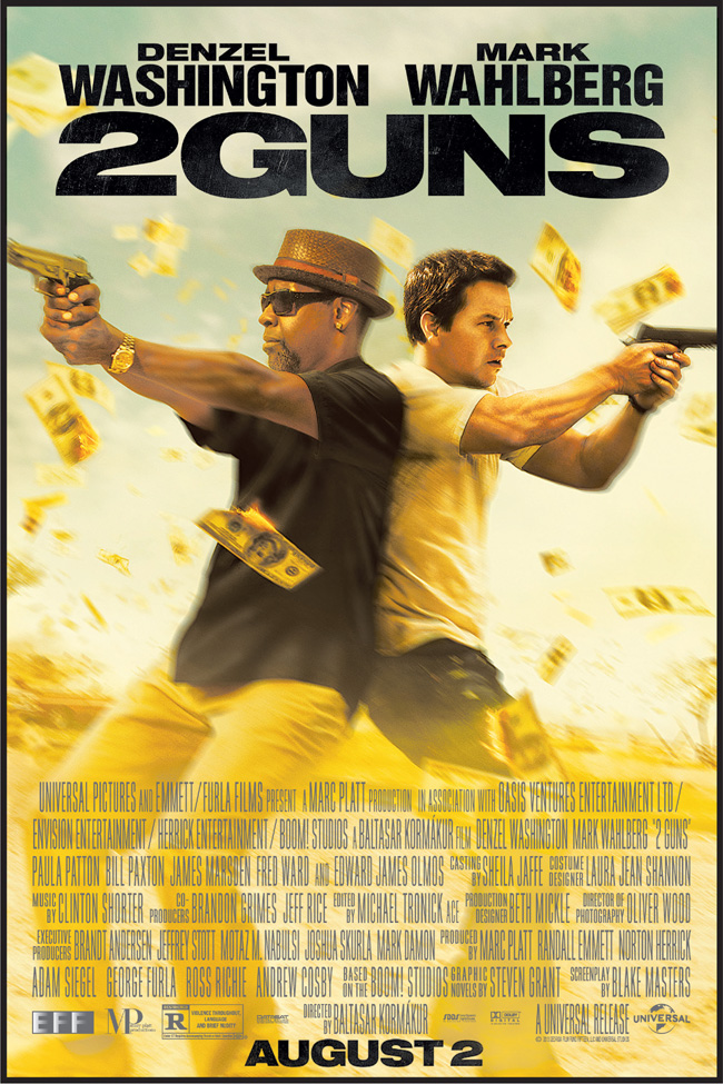 The movie poster for 2 Guns with Denzel Washington and Mark Wahlberg