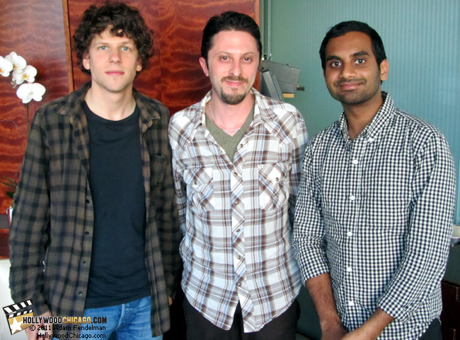 Jesse Eisenberg, Adam Fendelman and Aziz Ansari