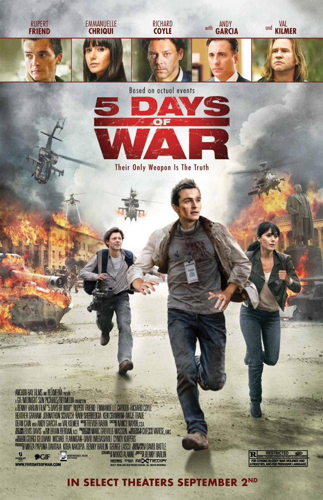 The movie poster for 5 Days of War with Val Kilmer, Andy Garcia and Rupert Friend