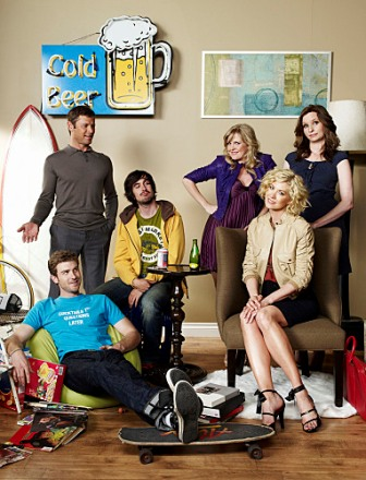 Jon Foster, Grant Show, Nicolas Wright, Ashley Jensen, Jenna Elfman and Lennon Parham star in the new comedy series ACCIDENTALLY ON PURPOSE on the CBS Television Network.