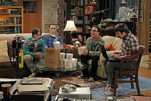 CBS's The Big Bang Theory stars Kunal Nayyar as Raj, Jim Parsons as Sheldon, Johnny Galecki as Leonard and Simon Helberg as Howard.