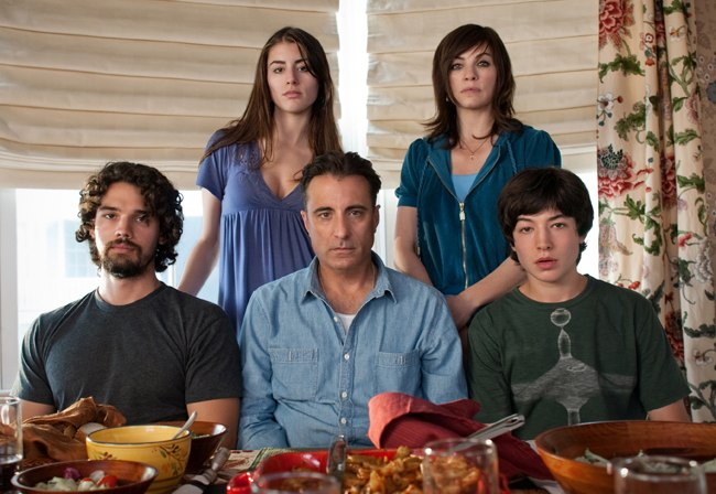 Andy Garcia (center) and (clockwise from top left) Dominik García-Lorido, Julianna Margulies, Ezra Miller and Steven Strait in 'City Island'