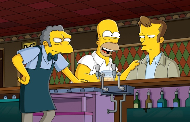 Moe, Homer and Wallace (voice of Kiefer Sutherland) in 'The Simpsons'