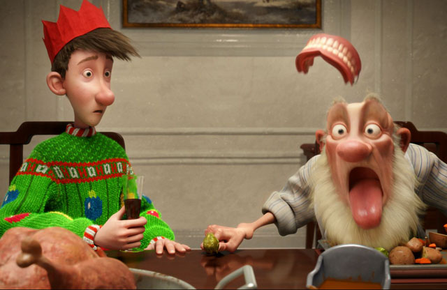 The Teeth of the Holiday: Arthur (voice of James McAvoy) and Grandsanta (Bill Nighy) in 'Arthur Christmas'
