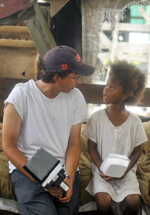 Director Benh Zeitlin and actress Quvenzhané Wallis on the set of Beasts of the Southern Wild.