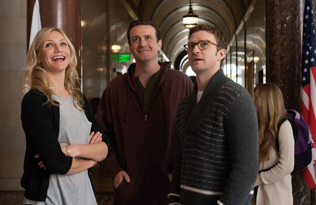 Cameron Diaz, Jason Segel (Russell) and Justin Timberlake (Scott) in 'Bad Teacher'
