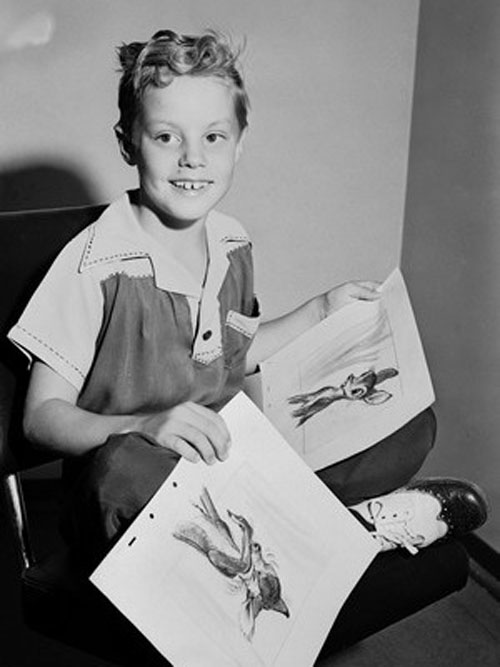 Donnie Donagan, Voice of Young Bambi, at the Walt Disney Studios in 1940