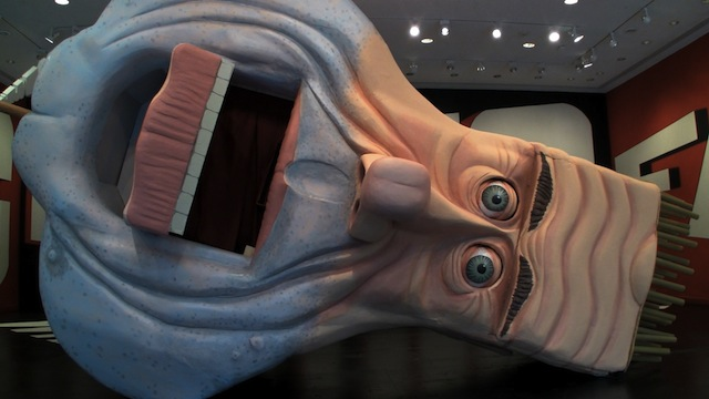 Wayne White's enormous puppet head of George Jones installed at the Rice Gallery in Houston, Texas.