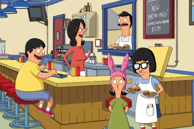 Grillmasters from Left: Gene (Eugene Mirman), Linda (John Roberts), Bob (H. Jon Benjamin), Louise (Kristen Schaal) and Tina (Dan Mintz) in 'Bob's Burgers'