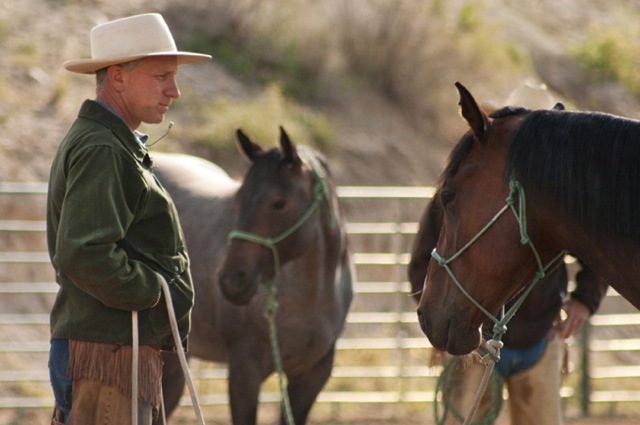 Buck Brannaman communicates with horses in Cindy Meehl's documentary, Buck.