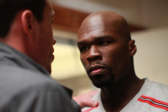 Chris Klein as Briggs and Curtis '50 Cent' Jackson as Tino in 'Caught in the Crossfire'