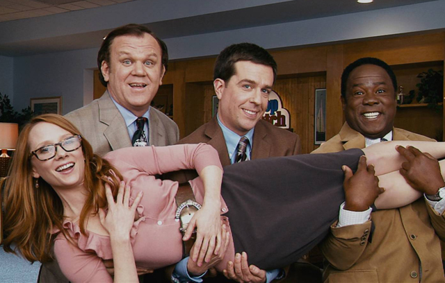 Formidable Foursome: John C. Reilly (Dean), Ed Helms (Tim), Isiah Whitlock Jr. (Ronald) and Anne Heche (Joan) in 'Cedar Rapids'
