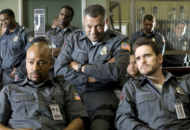 Left to Right: Columbus Short, Laurence Fishburne and Matt Dillon in 'Armored'