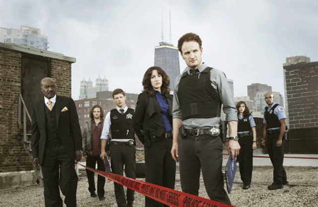 The Chicago Code Cast L-R: Delroy Lindo (Alderman Gibbons), Billy Lush (Liam), Matt Lauria (Evers), Jennifer Beals (Colvin), Jason Clarke (Wysocki), Devon Kelley (Vonda) and Todd Williams (Isaac)