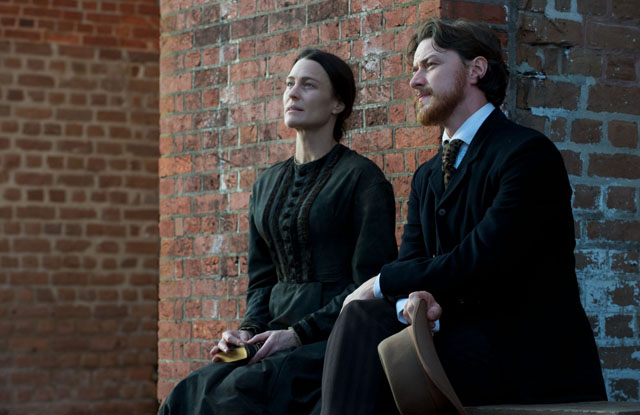Defense Rests: Robin Wright (Mary Surratt) and James McAvoy (Frederick Aiken) in 'The Conspirator'