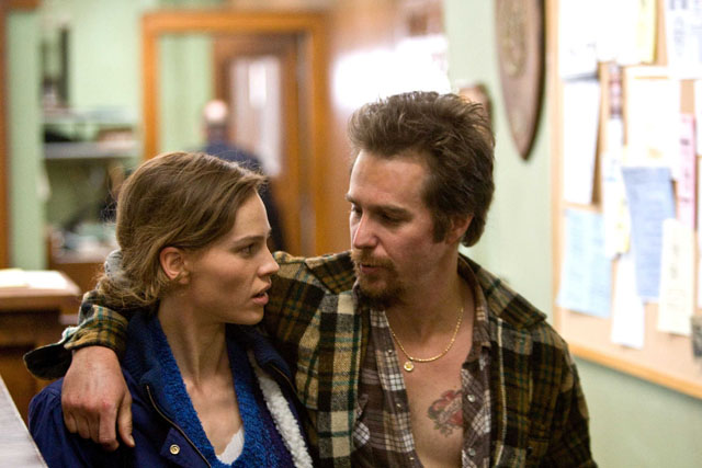 Sister and Brother: Hilary Swank as Betty Anne and Sam Rockwell as Kenny in 'Conviction'