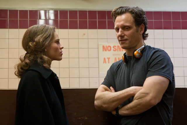 Hilary Swank directed by Tony Goldwyn on the set of 'Conviction'