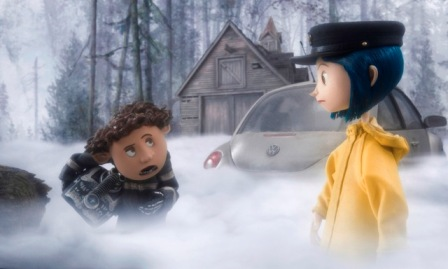 Wybie (voiced by Robert Bailey Jr.) goes exploring with his new neighbor Coraline Jones (voiced by Dakota Fanning) in the stop-motion animated 3-D adventure Coraline, from LAIKA Entertainment for release by Focus Features.