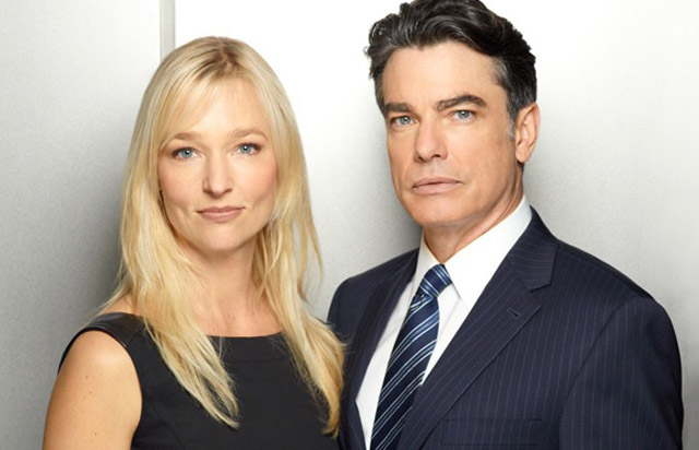 Most Popular Couple, CIA Yearbook: Kari Matchett (Joan) and Peter Gallagher (Arthur) in 'Covert Affairs'