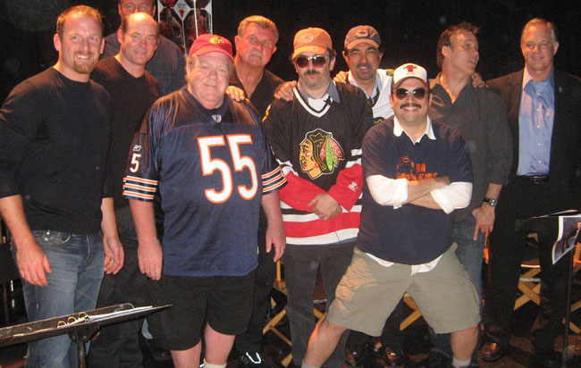 Cast of 'Da Bears Movie Dat Wasn't': (left to right) Ryan Dempster, Larry Miller, George Wendt, Mike Ditka, Robert Smigel, Joe Mantegna, Horatio Sanz, Richard Roeper and Rick Telander. Park West Chicago, June 19th, 2010