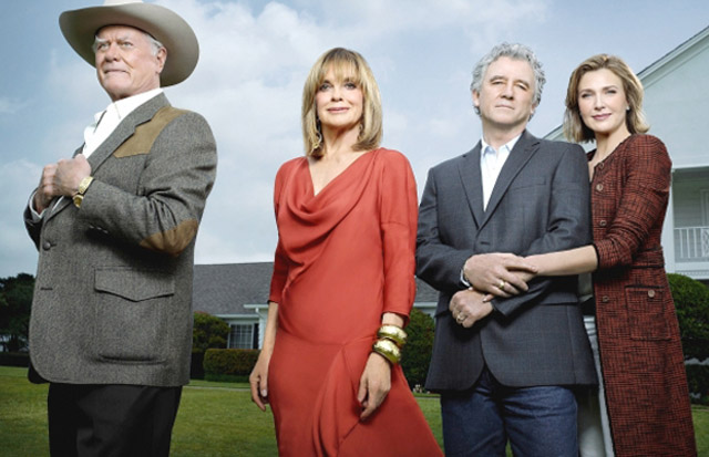 Brenda Strong (on the right as Anne) Joins Original Cast Larry Hagman (J.R.), Linda Gray (Sue Ellen) and Patrick Duffy on 'Dallas'