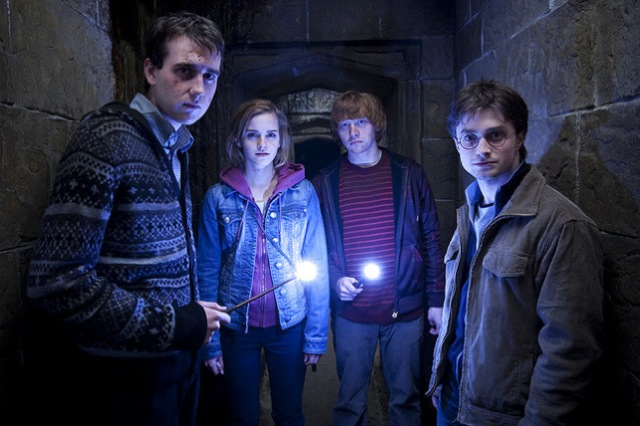 Matthew Lewis, Emma Watson, Rupert Grint and Daniel Radcliffe star in Harry Potter and the Deathly Hallows: Part 2.