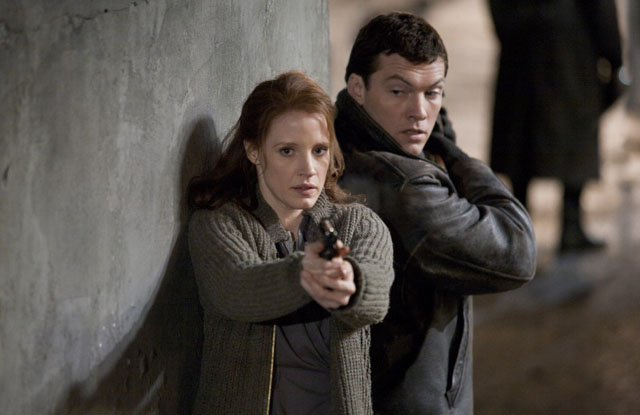 Jessica Chastain as Young Rachel and Sam Worthington as David in 'The Debt'
