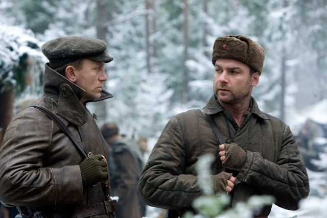 "Daniel Craig as ""Tuvia Bielski"" and Liev Schreiber as ""Zus Bielski"" star in DEFIANCE."