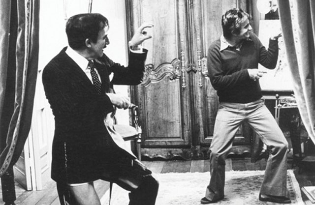 Peter Sellers (left) and Blake Edwards (right) trying out a gag during their legendary collaboration
