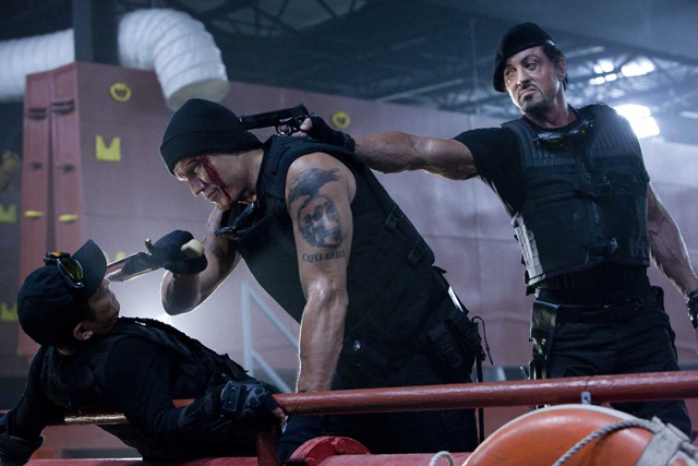 Whole Lotta Gunnin' Going On: Ying Yang (Jet Li), Gunner (Dolph Lundgren) and Barney Ross (Sylvester Stallone) in 'The Expendables'