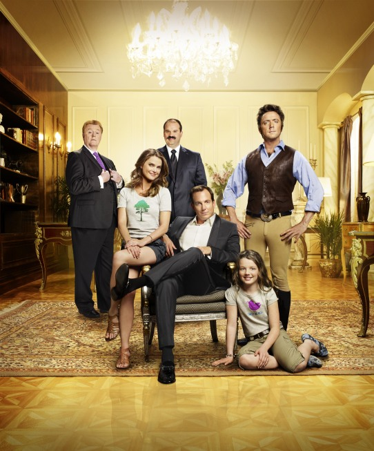 A lovable but immature playboy (Will Arnett, C) tries desperately to win (or buy) the heart of his childhood sweetheart (Keri Russell, second from L), the über-liberal humanitarian who got away in RUNNING WILDE, the new romantic comedy debuting Tuesday, Sept. 21 (9:30-10:00 PM ET/PT) on FOX. Also pictured: Robert Michael Morris (L), Mel Rodriguez (third from L), Stephania Owen (second from R), and Peter Serafinowicz (R). ©2010