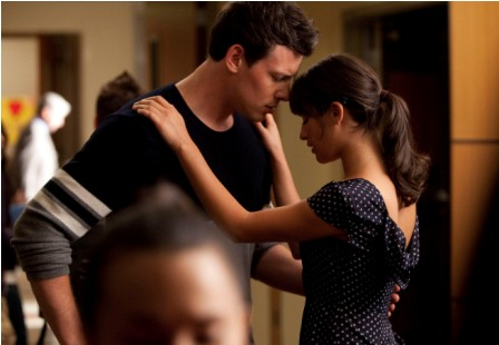 Finn (Cory Monteith, L) and Rachel (Lea Michele, R) share a moment in