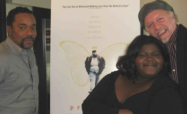 Director Lee Daniels, Gabourey Sidibe and Patrick McDonald in Chicago, October 14, 2009.
