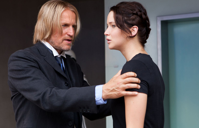 Strategy: Mentor Woody Harrelson (Haymitch) and Jennifer Lawrence in 'The Hunger Games'