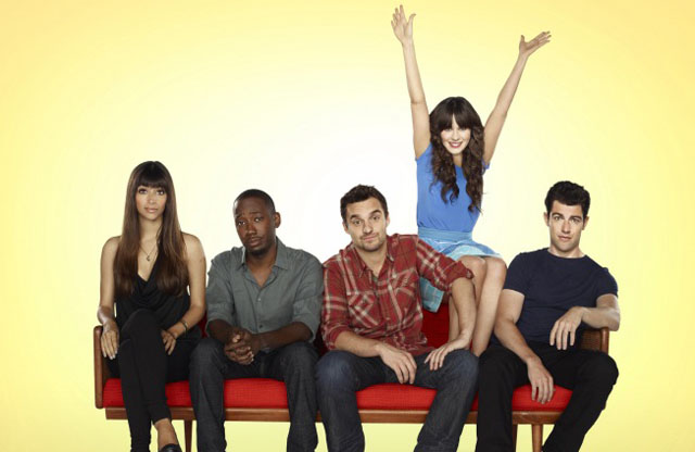 'New Girl' Cast, L-R: Hannah Simone, Lamorne Morris, Jake Johnson, Zooey Deschanel and Max Greenfield