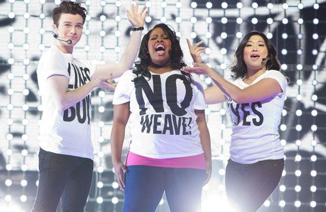 Kurt (Chris Colfer, left), Mercedes (Amber Riley) and Tina (Jenna Ushkowitz) Belt it Out in 'Glee: The 3D Concert Movie'