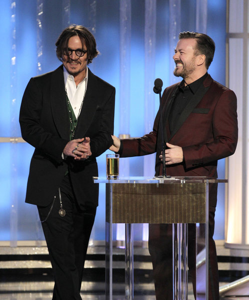 Johnny Depp and Ricky Gervais at the 69th Golden Globes