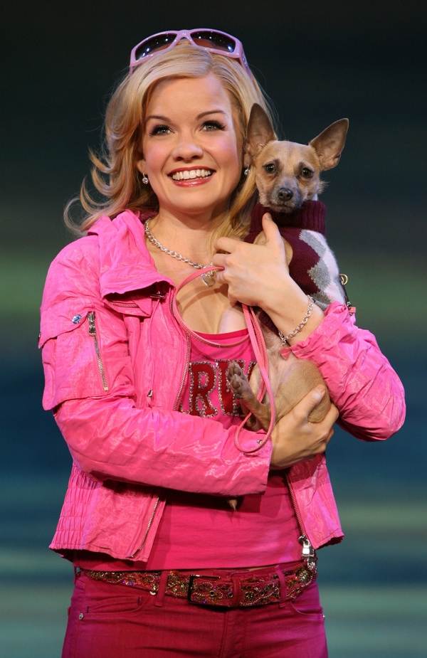 "Becky Gulsvig as Elle Woods and Frankie as Bruiser in Legally Blonde"" target="