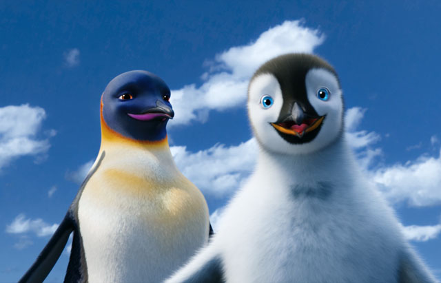 Dancing Two: Gloria (voice of Pink) and Mumble (Elijah Wood) in 'Happy Feet Two'