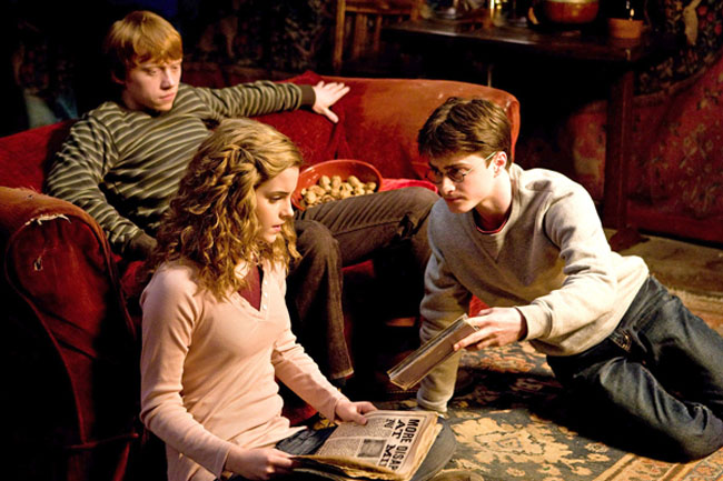 The Magical Three – Rupert Grint (Ron), Emma Watson (Hermione) and Daniel Radcliffe (Harry) in 'Harry Potter and the Half-Blood Prince'